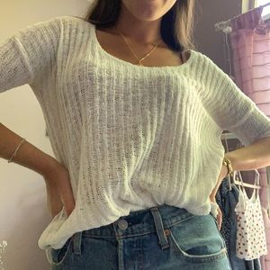 White sweater with 3/4 sleeves
